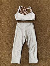 Lululemon Womens Set Sports Bra And Cropped Leggings White Gray Striped Small