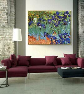 "YA200 Hand-painted Flower oil painting Canvas Van gogh Iris Unframed 24""x32"""