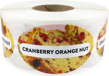 Cranberry Orange Nut Grocery Food Stickers, 1.25 x 2 Inches, 500 Labels Total