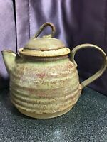 "Signed Studio Art Pottery Tea Pot w Lid Green Brown Drip Glaze 4.5"" x 5"" wide"
