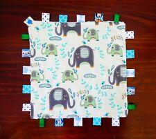 Elephant Splash - Taggie Taggy Tag Blanket Toy Comforter dummy clip holder snap