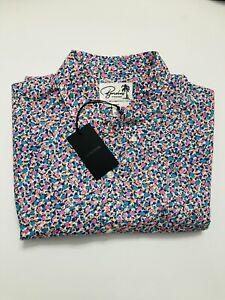 Bonobos Men's Pink Garden Crawl - Baciami Fit Short Sleeve Button Up Shirt Sz L