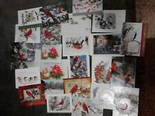 Set of 33 Christmas Cards w/ Envelopes, Bird Design Mixed Lot Variety