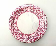 Lunch Dinner Paper Plates- Mosaic Damask Print, Bright Pink & White, 18 Count