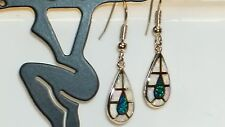 *** UK SELLER** Silver/Rhodium Plated WHITE/BLUE FIRE OPAL INLAY Earrings 38x9mm