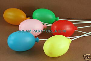 """60 Multi-color LARGE Plastic 2-3/4"""" BALLOONS with 8"""" long Picks WHOLESALE"""