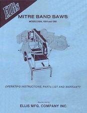 Ellis Mitre Band Saws Manual Models 90H, 100H and 1000