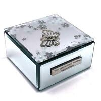 Personalised Beautiful Mirror Glass Butterfly and Flowers Jewellery Box 657TB-P