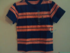 NWT baby Gap boy navy & orange striped pocket t-shirt w/bear logo; size 3T
