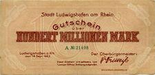 "Germany 100.000.000 Mark 1923 Ludwigshafen A â""–21498"