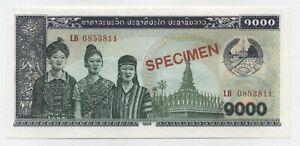 Lao Laos 1000 Kip 1992 Pick 32.s UNC Uncirculated Banknote Specimen