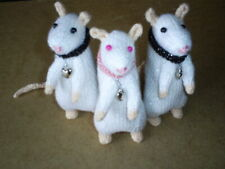 Knitted*SPARKLY WHITE RAT** Nice X.Mas or Birthday gift