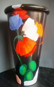 Stunning Red Clay Hand Painted Poppy Vase Signed