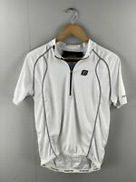 Fluid Pro Men's Cycling Short Sleeve Jersey with Pockets - Size Medium - White
