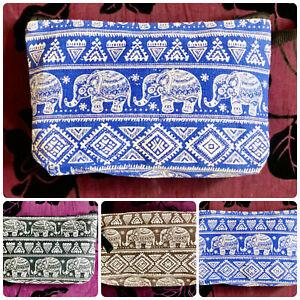 Cotton elephant design make-up accessory bag with zip to close