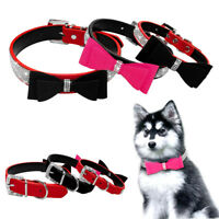Sparkling Rhinestone Suede Leather Dog Collars for Small Medium Dogs Puy Corgi