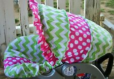 baby infant car seat cover and hood lime green chevron with pink and white polka