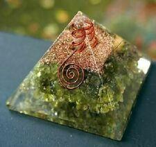 Extra Large 70-75MM Green Peridot Orgone Natural Gemstone Pyramid orgonite