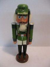 Erzgebirge Volkskunst GermanSoldier Nutcracker Wooden Green with White Hair