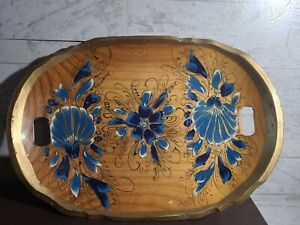 Vintage Hand Painted Wood Serving Tray Floral Design Gold Trim Spanish Ethnic