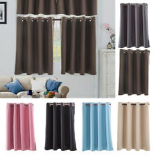 Solid Color Blackout Half Curtains Kitchen Valance Privacy Window Tiers