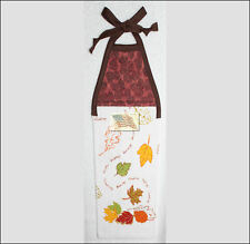 hanging kitchen towel tie straps padded machine quilted top VARIOUS LEAVES A