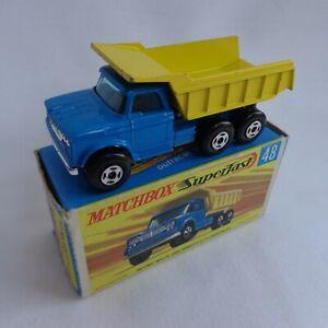 Vintage Matchbox Lesney Superfast No48 Dodge Dumper Truck DARK Blue BOXED!