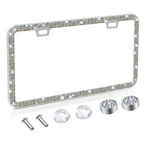 License Plate Frame for Women Sparkly Rhinestones Bling with Matching Screw Caps