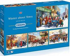 GIBSONS WINTER ABOUT TOWN 4 x 500 PIECE SNOWY SCENES JIGSAW PUZZLE