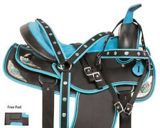 SYNTHETIC 15 16 17 18 WESTERN BLUE BLACK SHOW TRAIL HORSE SADDLE TACK SET PAD