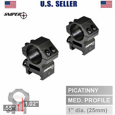 "Sniper 1"" Dia. Medium Profile Rifle Scope Rings For Picatinny Rail Mount System"