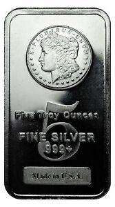 Morgan Dollar Design 5 oz .999 Fine Silver Bar Made in USA SKU27205