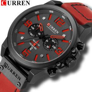 CURREN Men Leather Watch Chronograph Wristwatch Business Quartz Calendar Watches