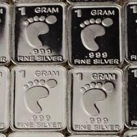 Lot 30 X 1 Gram  .999  Fine Silver Bar Bullion  / Padfoot       L5WPT397 oz