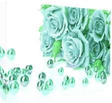 Duck Egg Blue Roses Cotton Canvas Wall Art Picture Print - A1, A2 sizes
