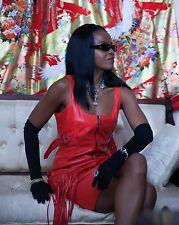New Designer Couture Versace Lipstick red leather & fringe mini dress gown  S-6