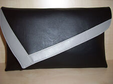 OVER SIZED GREY & BLACK Faux leather Clutch bag. LOVINGLY Handmade in Derbyshire
