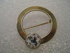 Vintage Brooch, Cloisonne Distelfink Circle Brooch, Open Center, Gold tone, 1960