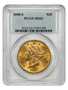 1898-S $20 PCGS MS63 - Liberty Double Eagle - Gold Coin