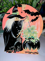 "Vintage Eureka Halloween Die Cut Witch Cauldron Damaged Very Old Used 6.5"""