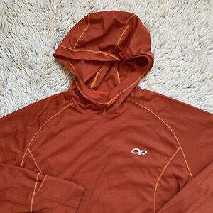 Outdoor Research Mens Small Orange Echo Hoodie Hooded Long Sleeve Lightweight