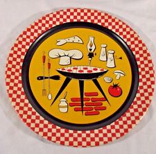"HUGE 19"" MID CENTURY Metal Serving Tray 60's Retro BBQ Food THEME GRILL DINER"