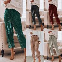 Womens Glitter Sequin Long Wide Leg Pants Stretch High Waist Clubwear Trousers