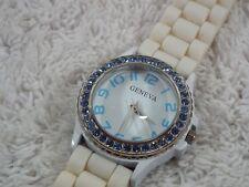 GENEVA Silvertone Blue Rhinestone White Silicone Band Watch (D27)
