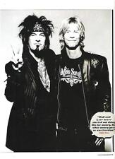 "MOTLEY CRUE Nikki Sixx & Duff McCagan magazine PHOTO / Pin Up /Poster 11x8"""