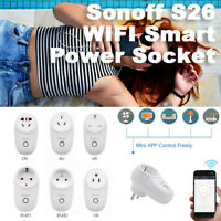 2020 Sonoff S26 WIFI Smart Power Socket Plug Wireless Remote Timer Smart Home UK