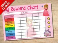 Princess Reward Chart - Kids Childrens School Sticker Star Chart - Stickers Pen