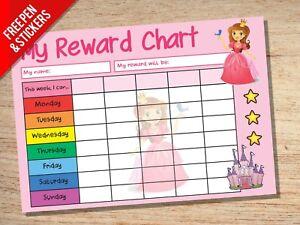 Princess Reward Chart - Kids Childrens School Sticker Star Chart - Stickers Pen