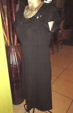 60's Style Black Dress> Black Beads At Neck Line>Sz.S Apt.9 poly spandex