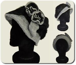 Women's Hat Winter Hat Wool Hat Woolly Hat Cloche Paris Kaninchenwolle Black